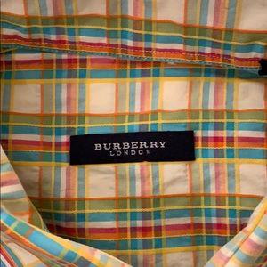 Burberry plaid men's button down classic quality!